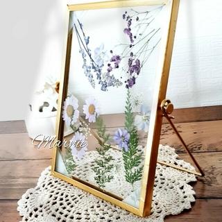 Flowerフレーム お花のインテリア ハンドメイド 北欧 押し花 ガラス写真立(その他)
