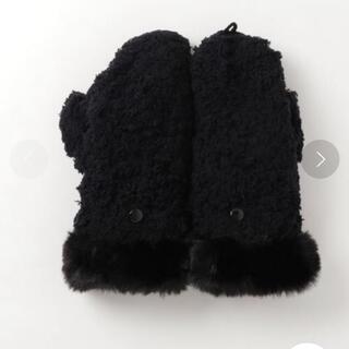 マリークワント(MARY QUANT)のモコモコクロッシェデイジー ミトン ブラック(手袋)
