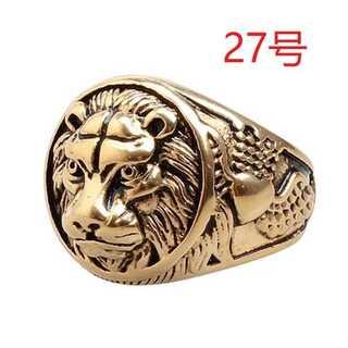 迫力抜群 王者 獅子 ライオン ゴールド リング 指輪 27号(リング(指輪))