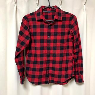 ユニクロ(UNIQLO)のユニクロ ★140★ 赤×黒 チェックシャツ ネルシャツ(ブラウス)