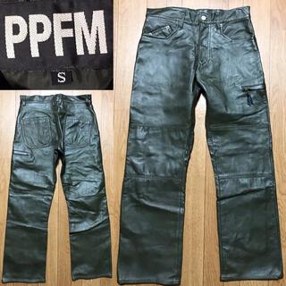 ピーピーエフエム(PPFM)の新品近い美品PPFM送料込レザーパンツ本革Sライダースミリタリーアメカジワーク系(その他)
