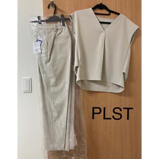 プラステ(PLST)のPLSTセットアップ・ポリエステル2wayストレッチブラウスパンツ・ライトグレー(セット/コーデ)