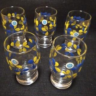 トウヨウササキガラス(東洋佐々木ガラス)の昭和レトロ 佐々木硝子 ブルー×イエロー グラス 5個 【未使用】(グラス/カップ)