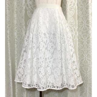 ストロベリーフィールズ(STRAWBERRY-FIELDS)のストロベリーフィールズ ホワイト刺繍スカート(ひざ丈スカート)