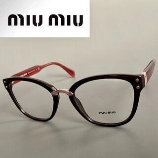 miumiu - ミュウミュウ メガネ ブラウン レッド ピンク 眼鏡 レディース キャットアイ