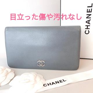 CHANEL - 正規品【極美品】シャネル 長財布 ブリリアント 二折 キャビアスキン グレー