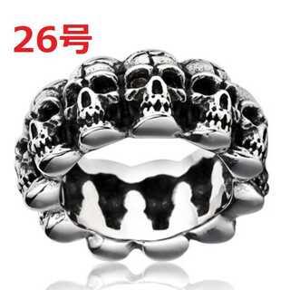 髑髏 ドクロ スカル ヘッド チェーン シルバー リング 指輪 26号(リング(指輪))