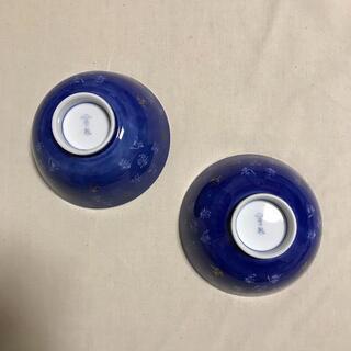 深川製磁 有田焼 木箱付き青茶碗2点 「寿」図2点 新品・未使用品(食器)