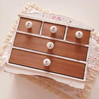 アフタヌーンティー(AfternoonTea)の未使用♡マニー♡ステンシルローズ木製品引き出しイマンローズバスケット薔薇ロココ(小物入れ)