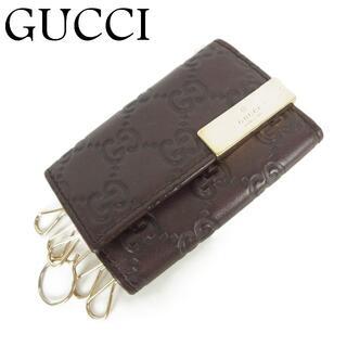 Gucci - グッチ GUCCI GG シマ レザー 6連 キーケース イタリア製 ブラウン