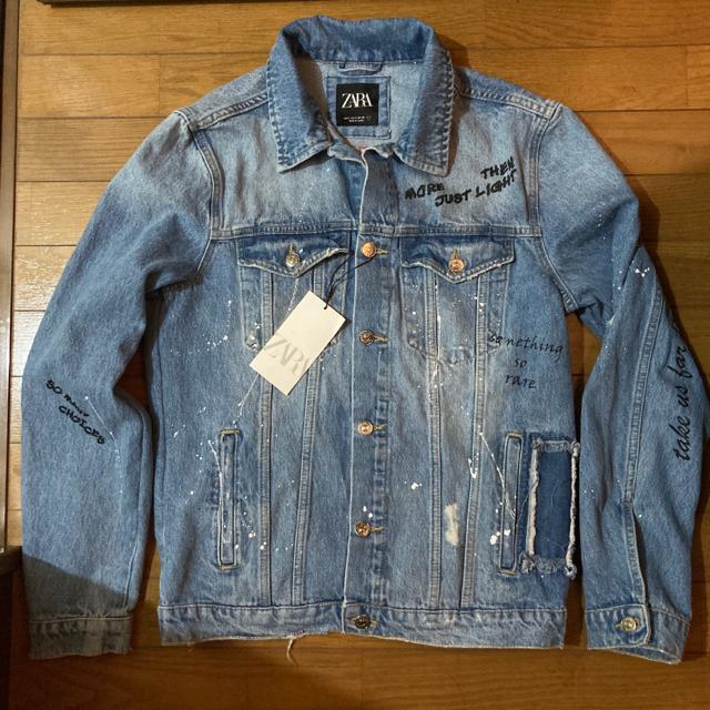ZARA(ザラ)の新品 ZARA デニムジャケット S ザラ Gジャン メンズ リメイク ペイント メンズのジャケット/アウター(Gジャン/デニムジャケット)の商品写真
