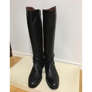 サヴァサヴァ(cavacava)のcava cava  本革黒ロングブーツ【24.5㎝】(ブーツ)
