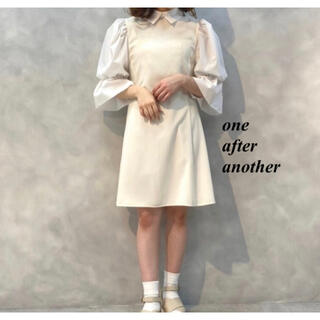 one after another NICE CLAUP - 新品 one after another 袖コンシャス襟付ワンピース