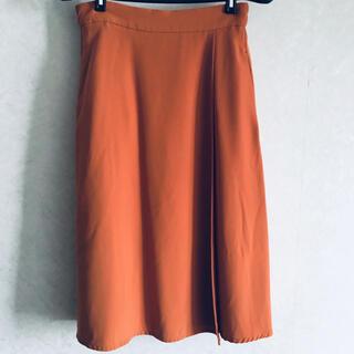 【美品】エディストクローゼット ラップ風オレンジスカート  M〜Lサイズ(ひざ丈スカート)