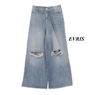 エヴリス(EVRIS)の新品 EVRIS ダメージワイドデニム(デニム/ジーンズ)