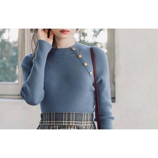 ディーホリック(dholic)のセール!ニットトップス 4連ボタン ハイネック 可愛い セーター おしゃれ(ニット/セーター)