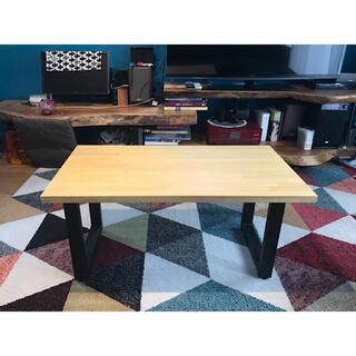 〓栄町工房〓 ローテーブル アイアンロの字脚 組立式 《ナチュラル》/ 送料込み(ローテーブル)