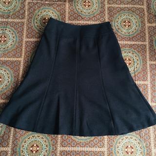【美品】ツイードスカート ネイビー ウエスト64cm セレモニー用にも(ひざ丈スカート)