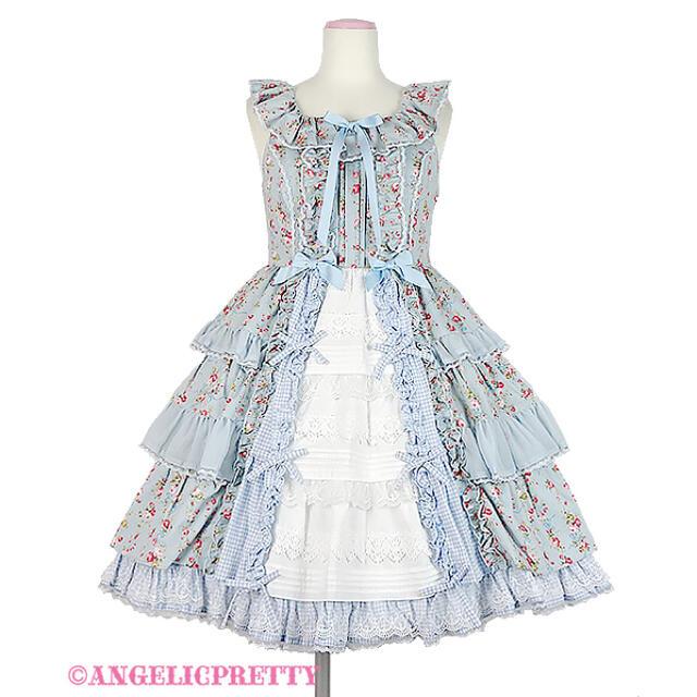 Angelic Pretty(アンジェリックプリティー)のangelic pretty petit bouquet ジャンスカ サックス レディースのワンピース(ひざ丈ワンピース)の商品写真