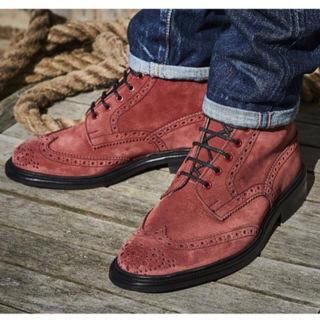トリッカーズ(Trickers)のトリッカーズ 赤ブーツ スエード UK7(ブーツ)
