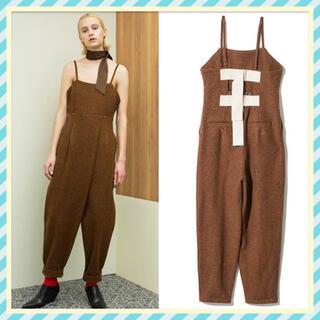 トーガ(TOGA)のLEINWANDE Tweed Belted Jumpsuits Brown(オールインワン)