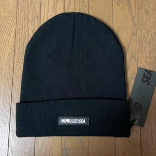 シー(SEA)のWIND AND SEA ウィンダンシー ニット帽 ニットキャップ ビーニー 黒(ニット帽/ビーニー)