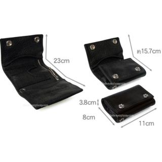 クロムハーツ(Chrome Hearts)のクロムハーツ 3フォールド ウォレット セメタリークロスパッチ ブラック ヘビー(折り財布)