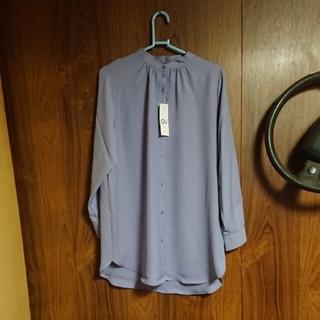 未使用、新品GUバンドカラーロングシャツ