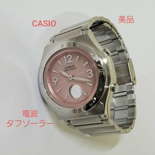 CASIO - CASIO 美品 電波ソーラー アナデジ デイト デシアナ レディース腕時計
