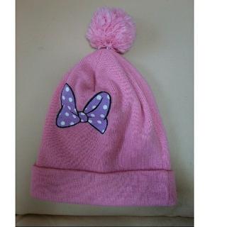ディズニー(Disney)のフリーサイズ ミニー ピンク ドット リボン ポンポン ニット帽 ディズニー(ニット帽/ビーニー)
