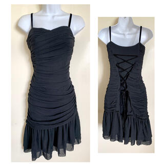 グレースコンチネンタル(GRACE CONTINENTAL)のグレースコンチネンタル ブラック レースアップ シルク ドレス(ミディアムドレス)