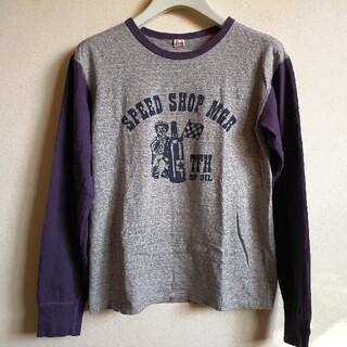 フラットヘッド(THE FLAT HEAD)のFLATHEAD ロンT グレー×ナス紺 38(Tシャツ/カットソー(七分/長袖))