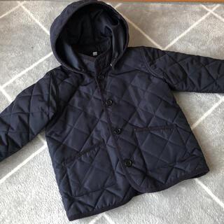 ムジルシリョウヒン(MUJI (無印良品))の無印良品 フード付きキルティングコート 100㎝ ネイビー(コート)