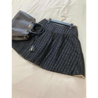 プラダ(PRADA)の美品 PRADA キルティング スカート ブラック 黒 プラダ(ミニスカート)