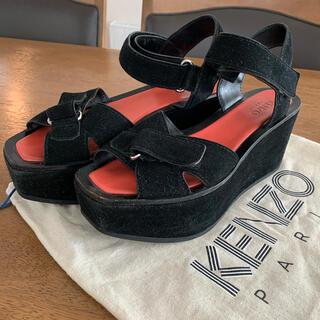 KENZO - KENZO プラットフォーム スエードサンダル ブラック
