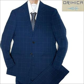 ORIHICA - J3546 美品 オリヒカ ウインドーペーン スーツ ネイビー Y4