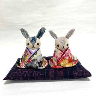 ミナペルホネン(mina perhonen)のうさぎちゃんの雛人形 εïз ハンドメイド ミナペルホネン 雛人形 お雛様 古布(人形)