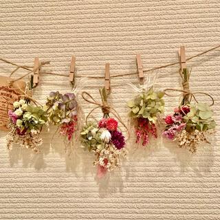 お花たっぷりドライフラワー スワッグ ガーランド❁69 紫陽花 ピンク 花束♪(ドライフラワー)