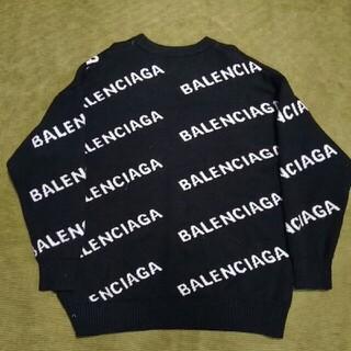 Balenciaga - BALENCIAGA バレンシアガ19SS オールオーバーロゴクルーネックニット