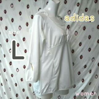 アディダス(adidas)のadidas ❤ L 長袖 白 ホワイト パーカー トップス レディース(カットソー(長袖/七分))