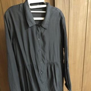 MUJI (無印良品) - 無印良品長袖ワンピースシャツワンピース黒Lブラック美品前開き