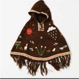 チチカカ(titicaca)の最終値下げ 新品 チチカカ キッズ ニット ポンチョ 刺繍 ブラウン 110cm(ニット)