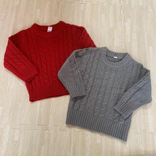 ニシマツヤ(西松屋)の西松屋 80 ニット 赤 グレー 2枚セット(ニット/セーター)