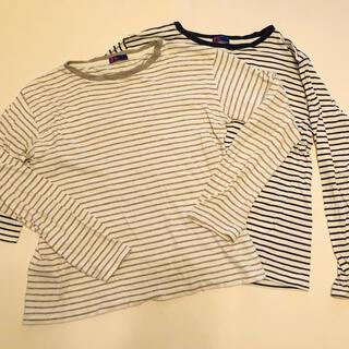 ジーユー(GU)の GU 140㎝ 長ティーシャツ ストライプ2枚組(Tシャツ/カットソー)