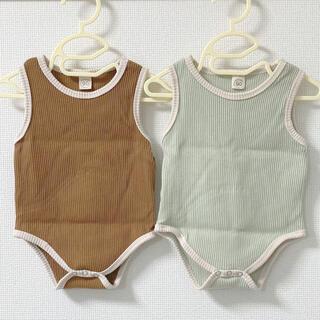 キャラメルベビー&チャイルド(Caramel baby&child )の韓国 リブロンパース ボディスーツ 90(ロンパース)