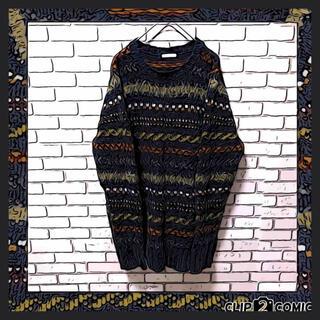 ART VINTAGE - 【人気カラー】ビンテージ セーター 総柄 ビックサイズ 希少 ネイビー XL