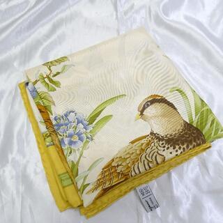 サルヴァトーレフェラガモ(Salvatore Ferragamo)のフェラガモ スカーフ シルク 野鳥柄 イエロー(バンダナ/スカーフ)