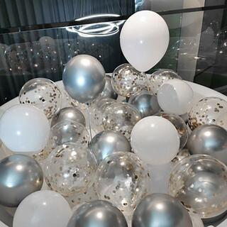 風船 バルーン 誕生日お祝い 記念日 誕生日 (18個入り)シルバー×ホワイト