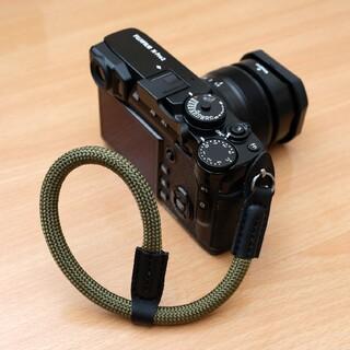 ロープ ハンドストラップ カモ カメラストラップ 一眼レフ ミラーレス レザー(その他)