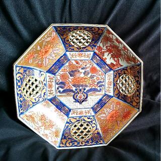ハサミ(HASAMI)の《未使用》林九郎の金彩 八角茶菓子器 透かし網目大盛皿(食器)
